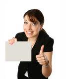 Femme avec la carte vierge Image stock