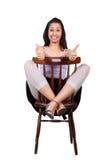 Femme avec la chaise Photo libre de droits
