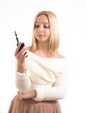 Femme avec la cigarette électronique Images libres de droits