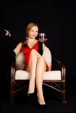 Femme avec la cigarette. Image stock