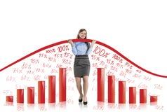 Femme avec la courbe de statistiques Photo libre de droits