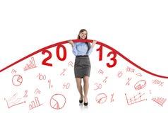Femme avec la courbe de statistiques Image libre de droits