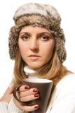 Femme avec la cuvette de café Photographie stock libre de droits