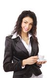 Femme avec la cuvette de café Image libre de droits