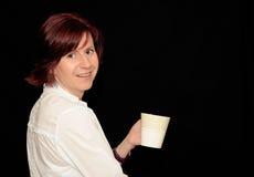 Femme avec la cuvette de café Images libres de droits