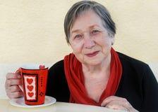 Femme avec la cuvette de thé Photo stock