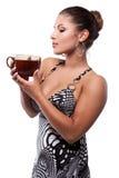 Femme avec la cuvette de thé Photos libres de droits