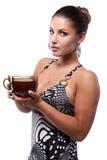 Femme avec la cuvette de thé Photo libre de droits