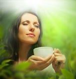 Femme avec la cuvette de thé, fond Photos stock