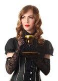 Femme avec la cuvette rouge Photographie stock libre de droits