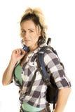 Femme avec la fin de sac à dos  photo stock