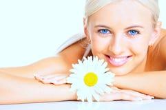 Femme avec la fleur Photo libre de droits