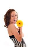 femme avec la fleur d'isolement Image libre de droits