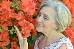Femme avec la fleur rose Photographie stock libre de droits