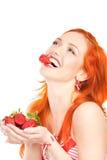 Femme avec la fraise Photographie stock libre de droits