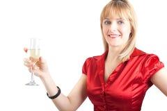 Femme avec la glace de champagne Photos stock