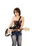 Femme avec la guitare électrique Photo stock