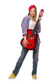 Femme avec la guitare d'isolement Photographie stock