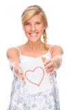 Femme avec la lettre d'amour Image libre de droits