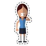 Femme avec la ligne de point de selfie de prise de smartphone illustration libre de droits