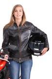 Femme avec la motocyclette photo stock
