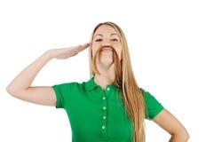 Femme avec la moustache Image libre de droits