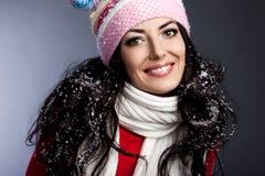 Femme avec la neige photo stock