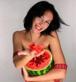 Femme avec la pastèque Photos stock