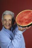 Femme aîné avec la pastèque Photo libre de droits