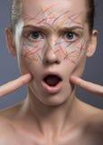 Femme avec la peau parfaite et les discriminations raciales Photo stock