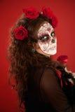Femme avec la peinture de visage en jour du type mort Images libres de droits