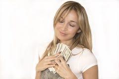 Femme avec la poignée d'argent Photos libres de droits