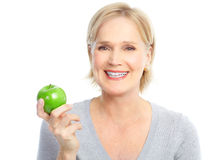 Femme avec la pomme Photo stock