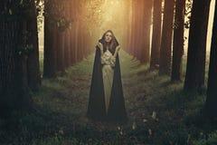 Femme avec la robe longue noire dans une forêt surréaliste photos stock