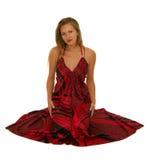 Femme avec la robe rouge image stock