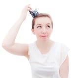 Femme avec la tête sur la tête Photos libres de droits