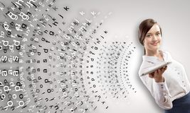Femme avec la tablette Photo stock