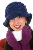 Femme avec la tasse photo stock
