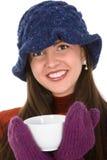 Femme avec la tasse images libres de droits