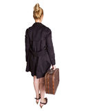 Femme avec la valise de cru Photo stock