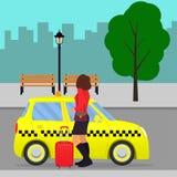 Femme avec la valise hors du taxi ou obtention dans une cabine sur la rue de ville Illustration de vecteur illustration de vecteur