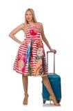 Femme avec la valise prête photo stock