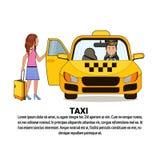 Femme avec la valise se reposant dans l'icône jaune de service de taxi de voiture de cabine au-dessus du fond avec l'espace de co illustration de vecteur