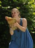 Femme avec la volaille Photos libres de droits