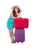 Femme avec le bagage d'isolement Photos libres de droits