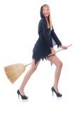Femme avec le balai Photographie stock libre de droits
