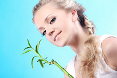 Femme avec le bambou Image libre de droits