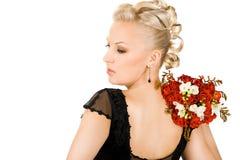 Femme avec le bouquet image libre de droits