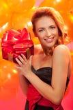 Femme avec le cadeau Photo libre de droits