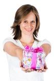 Femme avec le cadeau image stock